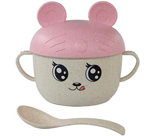 Mug d'apprentissage pour enfants avec couvercle, cuillère et poignées respectueux de l'environnement (rose avec oreilles)