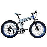 Knewss 1000W Ruedas de Motor de pulgas octogonales Bicicleta eléctrica de Servicio Pesado Bicicleta de batería de Litio Plegable 14Ah Bicicleta de montaña-48V10AH Blanco Azul