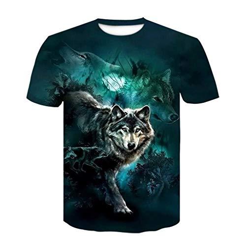 Sylar Camiseta Hombre Manga Corta Talla Grande Verano 3D Estampada de Lobo Camiseta de Cuello Redondo Hombre Camisas Casual T-Shirt Blusas tee para Hombre XL