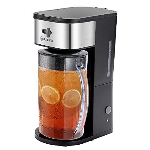 LITIFO Iced Tea Maker and Iced Coffee Maker Brewing System with 3-quart Pitcher, sliding strength selector for Taste Customization, Stainless Steel Decoration Black