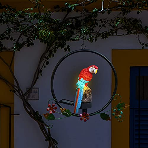 Famiwarm Hanging Parrot Statue Sculpture Bird Figurine Perching on Metal Round Ring Led Garden Solar Light Outdoor Garden Decoration for Patio Garden Lawn Nature Lovers Tropical Bird Collectors Red