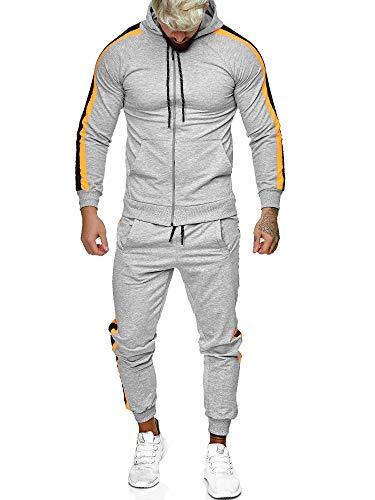 Code47 | Herren Trainingsanzug | Jogginganzug | Sportanzug | Jogging Anzug | Hoodie-Sporthose | Jogging-Anzug | Trainings-Anzug | Jogging-Hose | Modell JG-1084 Grau-Orange XXL