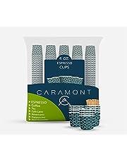 Caramont,400 Vasos Carton Desechables para Café Espresso de 4 onzas 110 ml con agitadores de madera, ecológicos y desechables, resistentes al calor