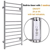 Heated Towel Warmer Wall Mounted for Bathroom,12 Bars Hot Electric Towel Warmer with Timer, Stainless Steel Towel Drying Rack, Plug-in/Hardwired, Brushed