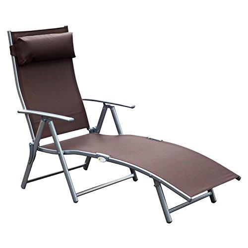 Outsunny Tumbona Plegable Respaldo Ajustable a 7 Niveles con Almohada Textilene Resistente Relax en Exterior Piscina Terraza Camping 137x63.5x100.5cm Acero