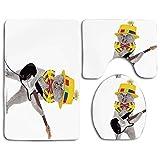 Set de alfombras de baño Cat Hipster Músico Kitty Tocando la guitarra Cantando Sombrero divertido Fiesta Cumpleaños Humor Lavable Alfombra de baño + Alfombrilla de contorno + Funda de asiento de inodo