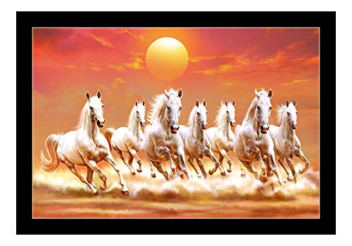 Dolphin Art Synthetic Frame Digital Reprint 7 Horse Running Vastu Painting (14 inch x 20 inches)