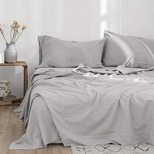 Simple&Opulence Belgian Linen Sheet Set Solid Color - 4 Pieces (1 Flat Sheet & 1 Fitted Sheet & 2 Pillowcases) Natural Flax Cotton Blend Soft Bedding Breathable Farmhouse - Grey, Queen Size