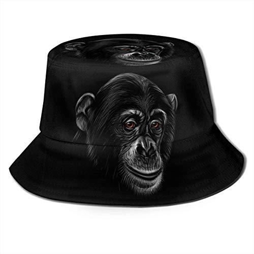 BONRI Sombrero de Pescador Unisex Retrato de Moda de una Cabeza de chimpancé Gorra de Pescador Plegable UV Negro