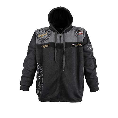 Modische Sweatshirt Jacke von Lavecchia in Anthrazit mit Kaputze in den Größen 3XL - 8XL (6XL)