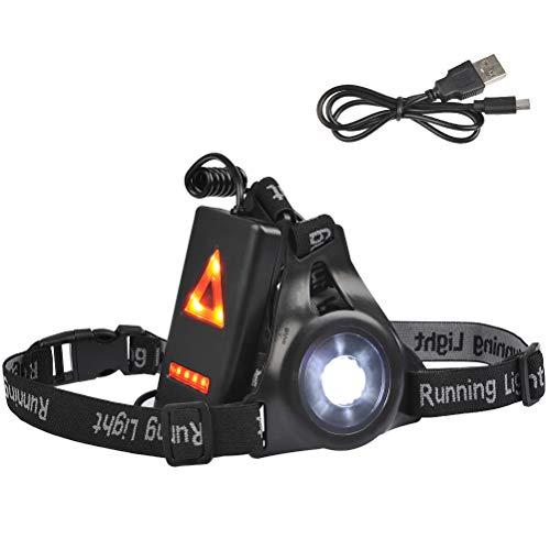 Nacht Sports Lauflicht, LED USB Wiederaufladbare Lauflampe mit 3 Lichtmodi (250 lm/180 lm/ 90 lm), wasserdicht Sportlampe, Brust Lampe für Outdoor, Joggen, Gehen, Campen, Laufen,Angeln, Klettern