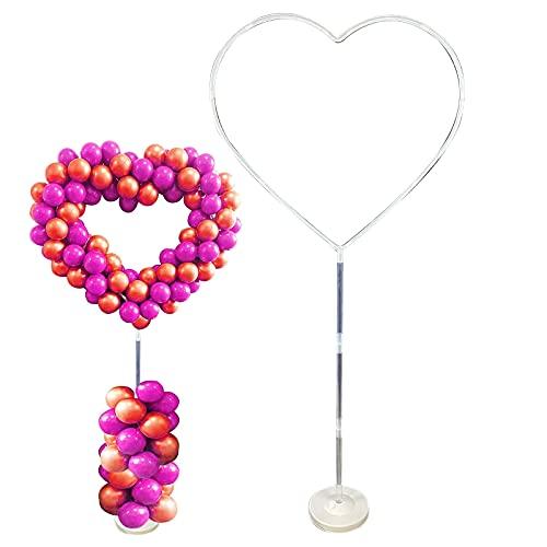 DriSubt - Set con arco per palloncini, a forma di cuore, con base a forma di arco, per matrimoni, baby shower, compleanni, feste, decorazioni per sfondo (156 x 68 pollici)