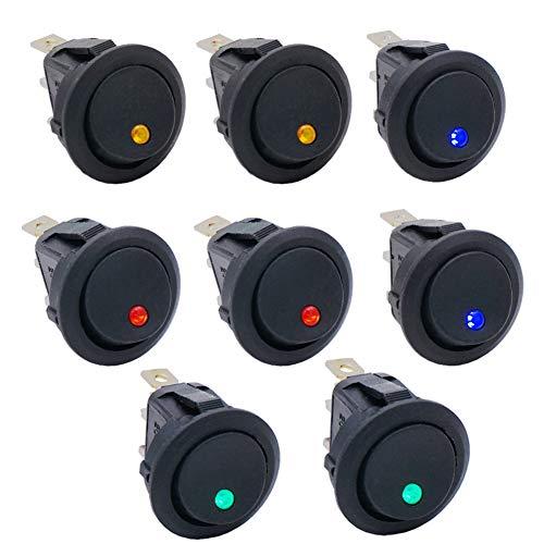Taiss / 8 Stücke 20A 12V DC EIN/AUS SPST Round Dot Rocker Kippschalter Steuerung Für Auto oder Boot Mit Rot Blau Grün Gelb (4 Farbe) LED-Licht KCD2-102N-4C