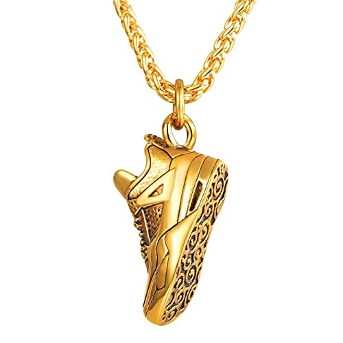 QZH Halskette, Edelstahl Laufschuh Anhänger Halskette Für Läufer, Steampunk Herren Punk Schmuck Geschenk, Schuh Anhänger, Stilvolle Persönlichkeit Schuh Anhänger