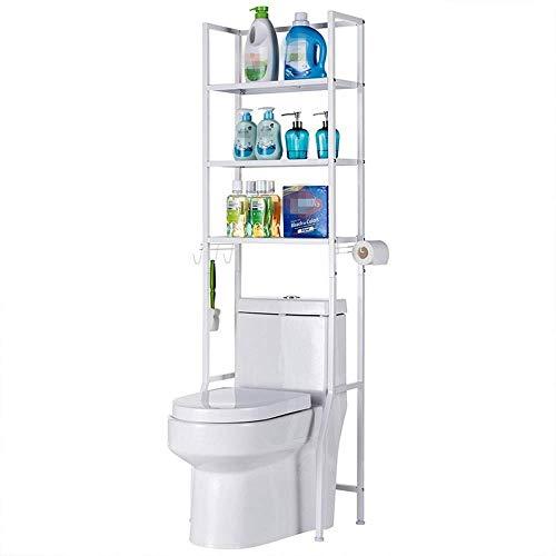 LHQ-HQ Los estantes de baño ahorrador del espacio de baño estante de almacenamiento Organizador de 3 estantes sobre el inodoro de almacenamiento en rack Utilidad de metal Wihte for el hogar carrito de