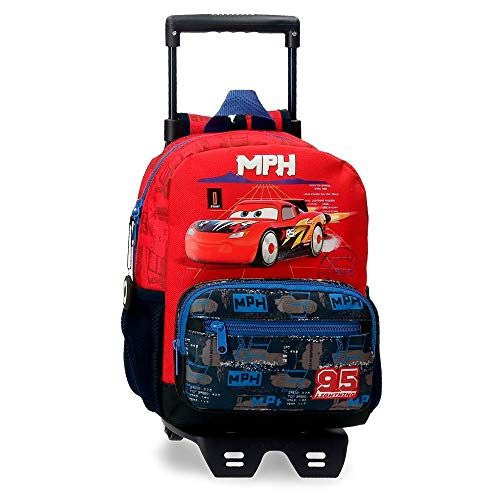 Disney Cars Rocket Racing Backpack 28cm W/Trolley,Multicolor