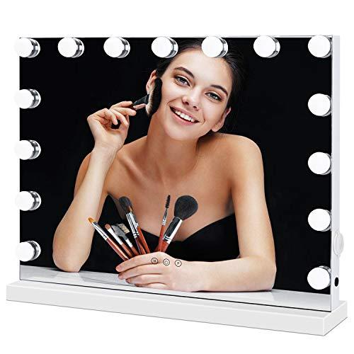 Meidom Hollywood Spiegel mit Beleuchtung, mit USB, 3 Farbtemperatur Licht, 15 Dimmbare LED Schminkspiegel für Wohnzimmer, Schlafzimmer, Kosmetikstudio - Weiß (58cmX46cm)