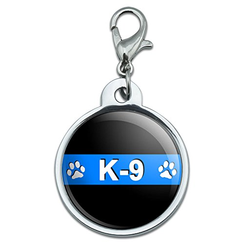 Graphics and More Chrome Plated Metal Small Pet ID Dog Cat Tag Thin Blue Line Police - K-9 Unit Paw Prints Police