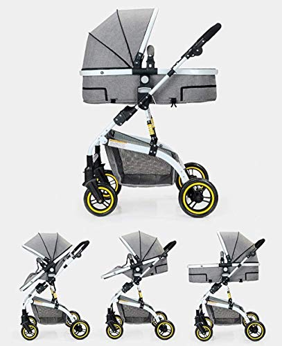LAMTON Baby Stroller High Landscape, City Jogging Four-Wheel Collapsible Two-Way Shock Adjustable Baby Stroller to Send Mosquito Net Cotton Pad Foot Cover Wrist Band, Suitable for 0-36 Months Baby LAMTON This double stroller features an aeronautical aluminum frame that makes it lighter and stronger, and the fabric is made from linen for a more breathable and refreshing look. The front wheel design of the stroller can be rotated 360°, the built-in spring shockproof, strong shockproof, adapt to a variety of review roads, making the baby more comfortable. Stroller configuration: equipped with a five-point seat belt, detachable armrests, adjustable pusher height, and an enlarged basket at the bottom. 3