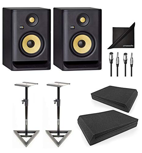 KRK ROKIT RP5-G4 Active Studio Monitor Speakers w/AxcessAbles Speaker Stands, Isolation Pads, Audio Cables and eStudioStar Polishing Cloth