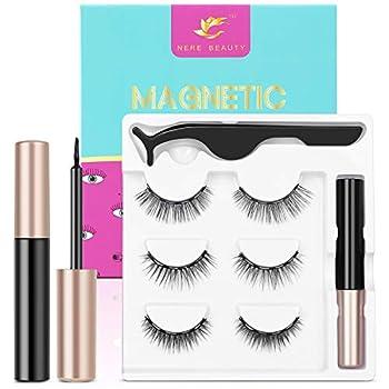 2021 Upgraded Magnetic Eyelashes and Eyeliner Kit Magnetic Eyeliner with Natural Look Reusable Premium Magnetic Eyelashes Athena 3 pairs NERE BEAUTY