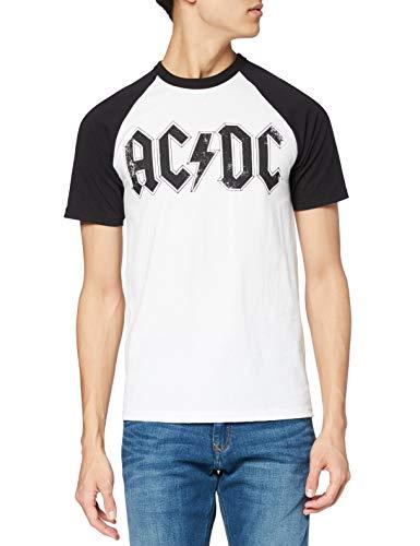 AC/DC Logo Raglan Camiseta, Blanco (White/Black), L para Hombre