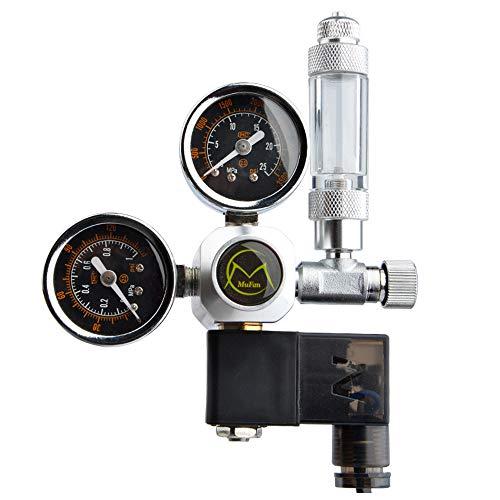 TTLIFE Aquarium CO2 Regulator Dual Meter Display W21.8 Schnittstelle Rückschlagventil Magnetventil für Aquarium Aquarium Wasserpflanzen zur Einstellung des CO2-Niveaus