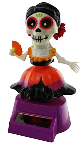 Midwood Brothers Halloween Solar Powered Dancing Toys - Sugar Skull Skeleton Day of The Dead Female Mexican Sugar Skull Bobble Head Party Dancer