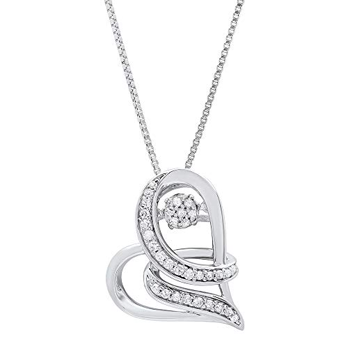 Dancing Diamond'Love Wrapped' Heart Pendant Necklace in 925 Sterling Silver by Parade of Jewels (1/6 ct.tw.), 18'