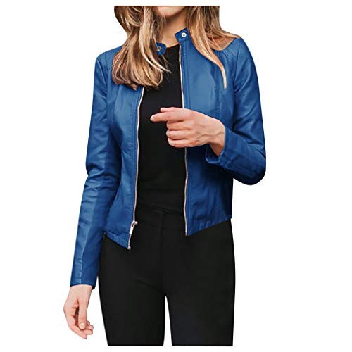 aihihe Womens Faux Leather Moto Biker Jacket with Pockets Slim Fit Vintage Zip Up Lightweight Short Jacket Pu Coats Blue