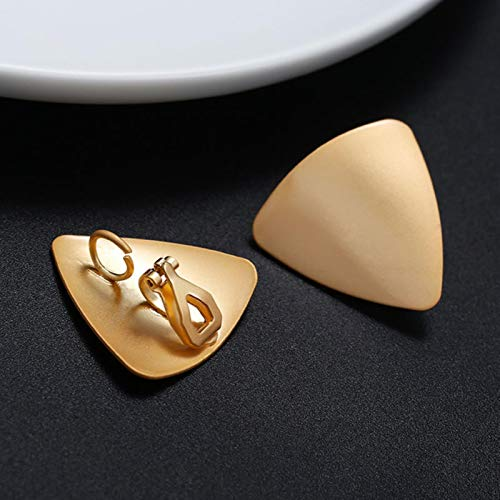 AQUALITYS Fashion Statement Hyperbolic Matte Gold No Pierced Clip on Earrings Big Geometric Vintage Ear Clips for Women Brincos Jewelry-D