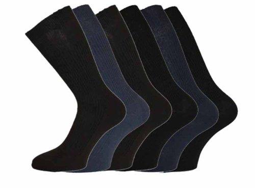 Nouveau lot de 12 paires de CHAUSSETTES mi-mollet Homme 100 % Coton Bords souples sans compression Sans élastique Tons foncés lot de 12 Tailles 39-45
