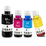 UniPlus Reemplazo de Botella de Tinta Compatible para HP 31 32XL Negro 135ml Cian Magenta Amarillo 70ml para HP Smart Tank Plus 555 570 655 559 HP Smart Tank 455 457 510 513 536 539, 4 Botellas