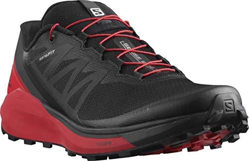 Salomon Men's Sense Ride 4 Trail Running Shoe, Black/Goji Berry/Phantom, 8.5