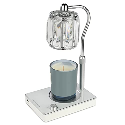Candle Wax Lamp,Crystal Lampshade Fragrance Candle Warmer Lamp,Top-Down Wax Melting Lamp with USB Port,Adjustable Height and Brightness Electric Candle Wax Warmer for Home Bedroom Decor. (White)