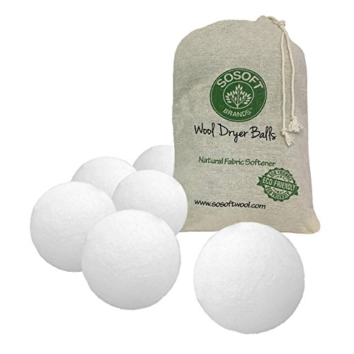 SoSoft Wool Dryer Balls 6 Pack 100% Premium So Soft Wool Dryer Balls XL Handmade in Nepal All Natural Eco Friendly All Natural Fabric Softener Natural Fabric Softener 6 Count Package