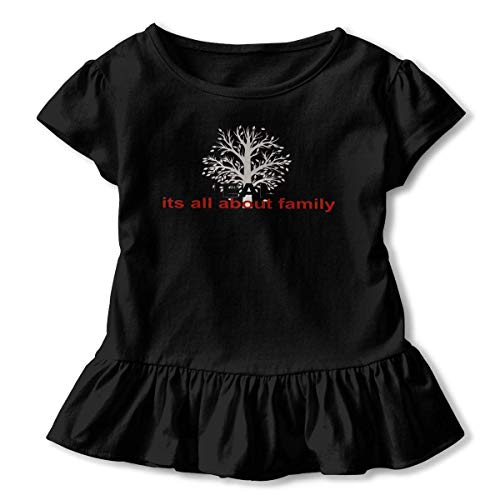 j65rwjtrhtr Girls' Chemises Sleeve Genealogy It's All About Family T-Shirts, Casual Blouse Clothes with Flounces, 2-6T