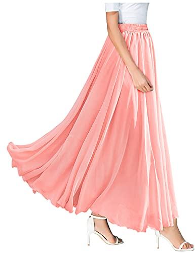 L'VOW Womens Light Bohemian Flowy Full Circle Long Maxi Skirt Red Color (W01- Nude Pink, Large)