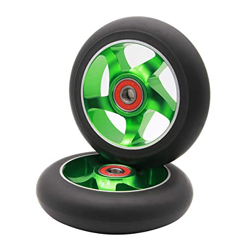 Z-FIRST 2pcs Replacement 100mm Pro Scooter Wheels with ABEC 9 Bearings for MGP/Razor/Lucky/Envy Pro Scooters (Green)