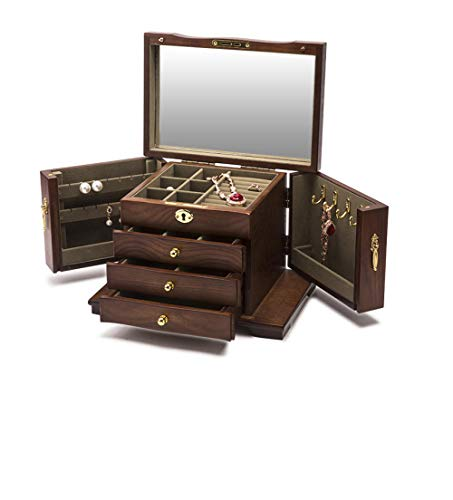 Lostryy- Jewellery Boxes Women's Retro Wooden Jewelry Box with Lock Girl Dressing Table Tissue Storage case Home organise oanament Earrings Necklace Watch