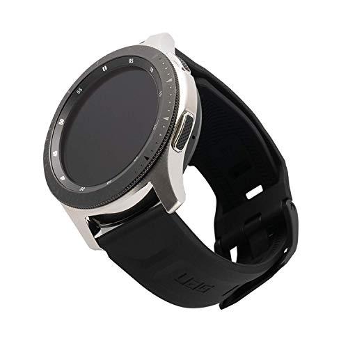 Urban Armor Gear Scout Armband für Samsung Galaxy Watch3 45mm, Watch 46mm, Gear S3 Frontier & Classic, Watch Active 2 (44mm) - [Weiches & robustes Silikon Ersatzband, Edelstahlverschluss] - schwarz