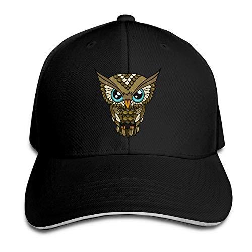 Unisex Adult Cartoon Owl Vintage Athletic Baseball Cap Adjustable Plain Dad Trucker Hat Black