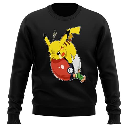Okiwoki Pull Noir Parodie Pokémon - Pikachu et Sasha - Vengeance !!! : (Sweatshirt de qualité Premium de Taille L - imprimé en France)