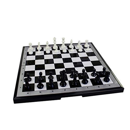 CAI-HAI Erwachsenenschach, Schwarz-Weiß-Schachfiguren Mit Magnetischem Klappbrett-Set, Kinder-Anfänger-Puzzle, Denktraining/Unterhaltungsspiele (Size : 21.4x22.2x1.3cm)