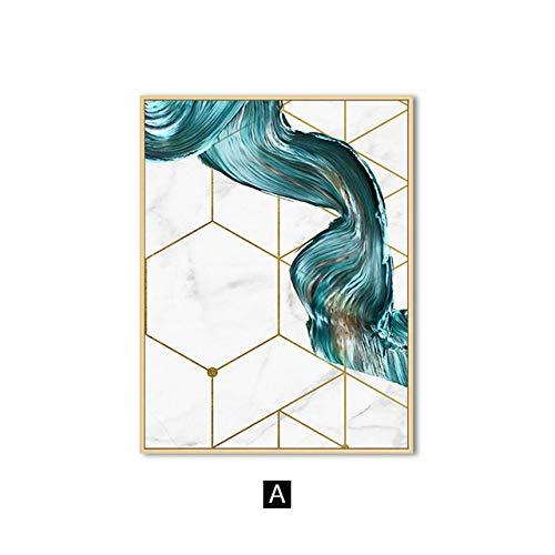 Decoratie voor woonkamer van Scandinavisch blauw abstract canvas muurposters modern geometrisch minimalisme