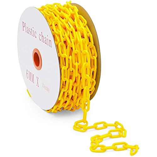 Stockroom Plus Yellow Plastic Barrier Chain, Weatherproof Safety Link (100 Feet)
