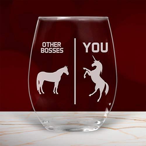 Boss Copa de vino sin tallo, divertido regalo para mujeres, hombres, ella, agradecimiento, dejando 11 onzas