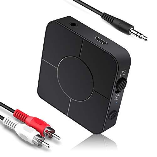 Transmisor Bluetooth 2 en 1 Transmisor Bluetooth 5.0 Receptor Adaptador inalámbrico de 3.5 mm de Baja latencia para TV Sistemas de Sonido para el hogar y el automóvil (O Type)