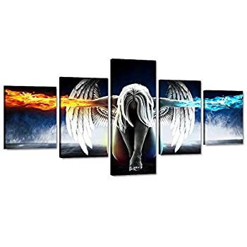 5 Panels Canvas Wall Art Fire and Ice Angel Wings of Contemporary Girl Painting Abstract Woman Pictures Posters and Prints Artwork Decor for Living Room Bedroom Office Framed Easy to Hang  50 Wx24 H