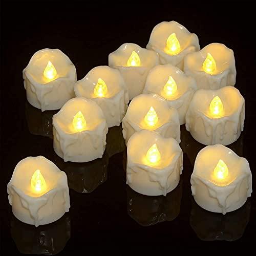 Yongen 12 velas LED parpadeantes sin llama de color blanco cálido, pequeñas...